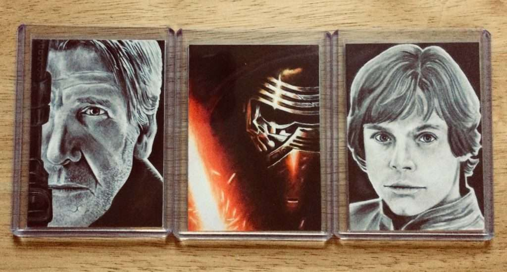 Three Star Wars Sketh Cards