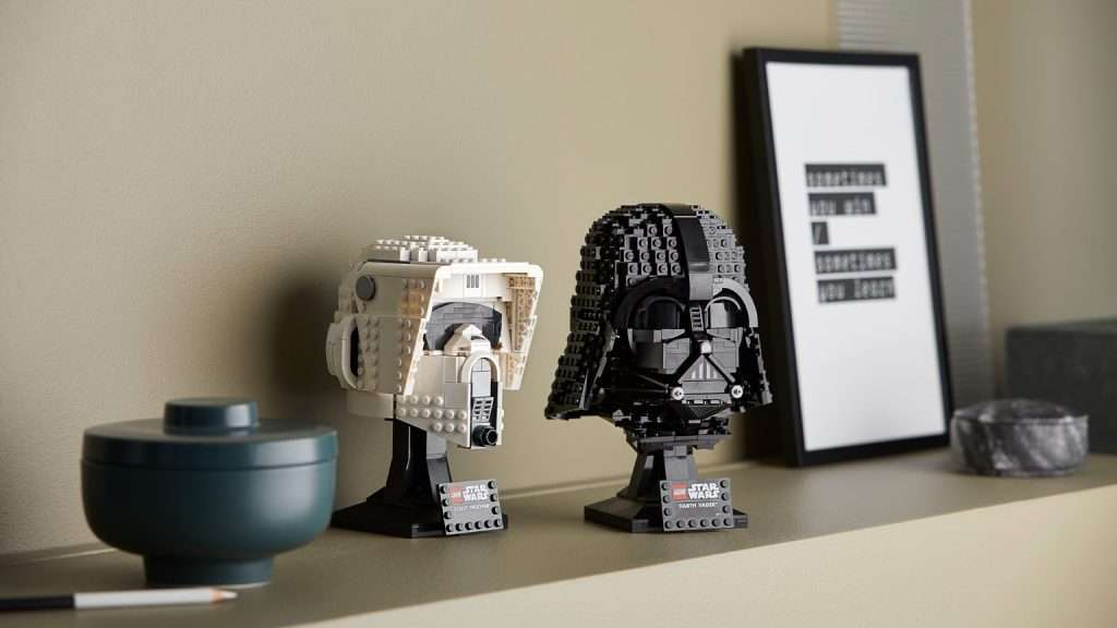 Lego Star Wars helmets on shelf